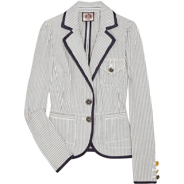 Juicy Couture Striped cotton-seersucker blazer ($210) ❤ liked on Polyvore featuring outerwear, jackets, blazers, tops, women, navy jacket, navy cotton blazer, long sleeve jacket, navy striped blazer and puff sleeve blazer