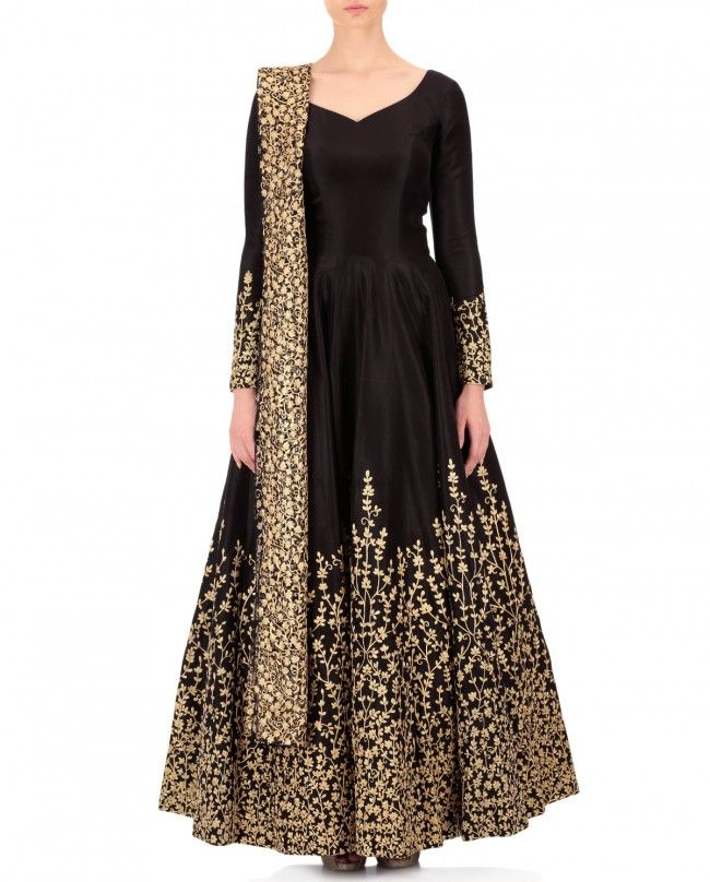 Nikhil Thampi Black Dupion Silk Embroidered Anarkali with Embroidered Dupatta