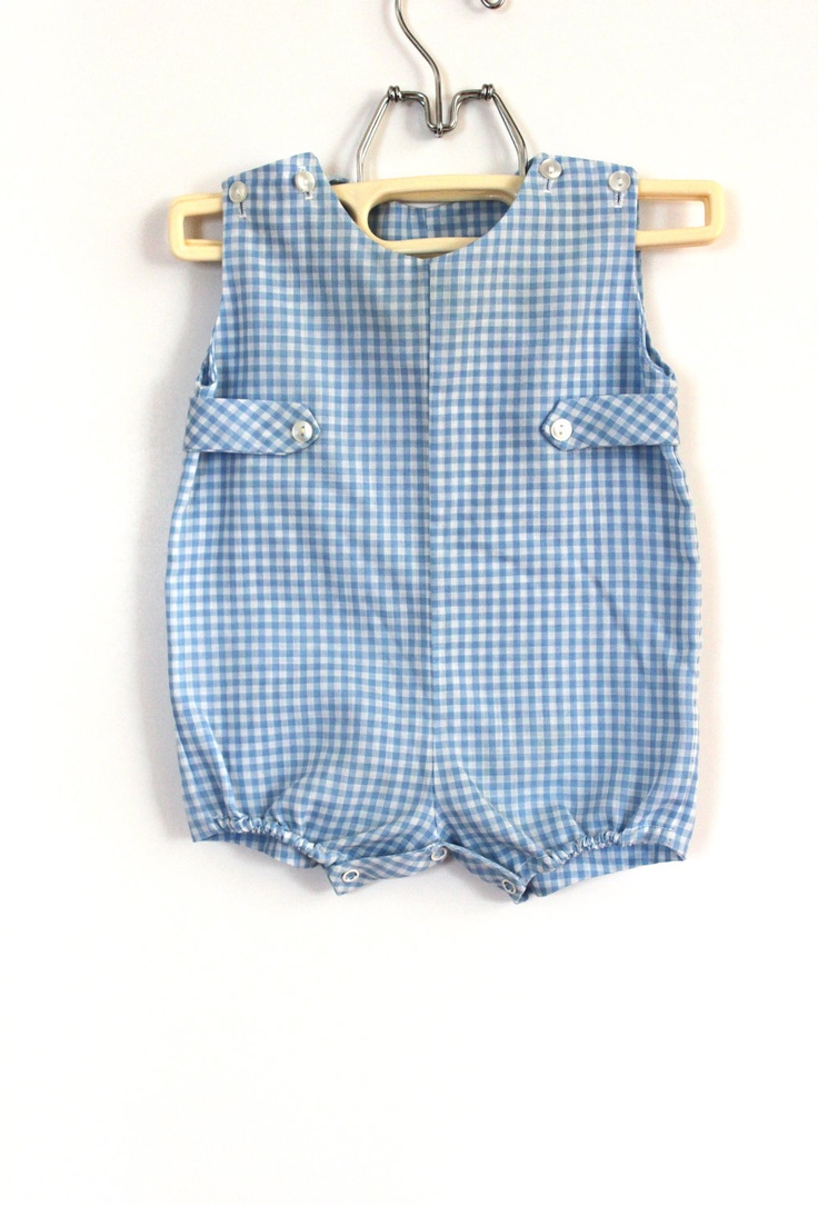 Vintage Baby Boy Blue Gingham