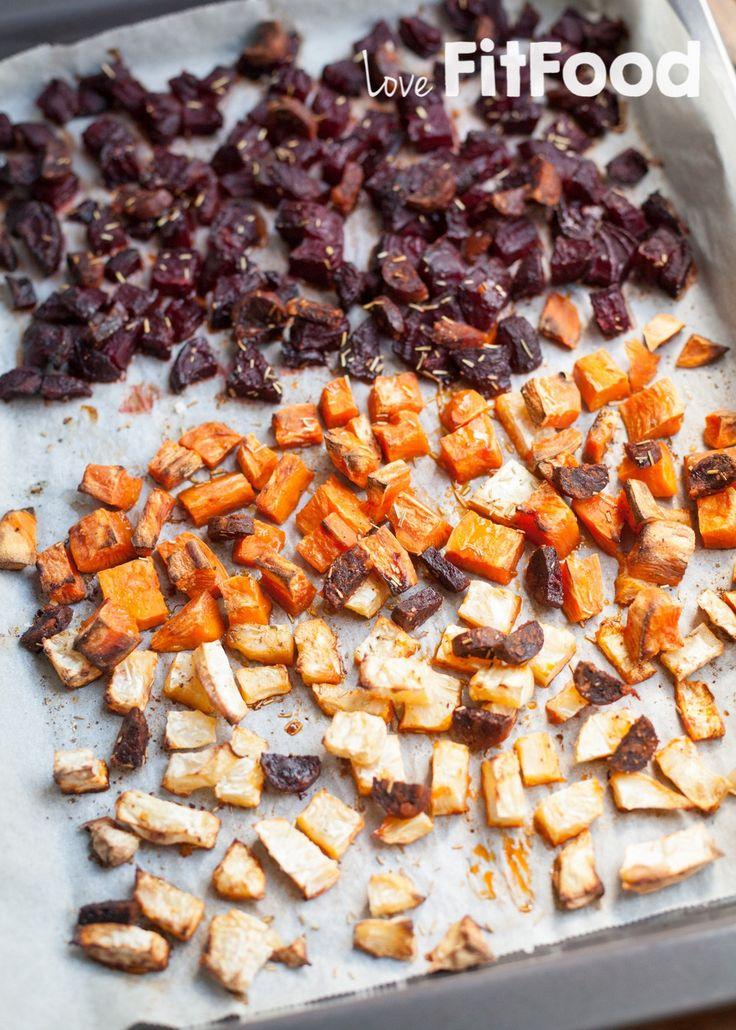 Geroosterde rode bietjes, zoete aardappel en knolselderij met chorizo