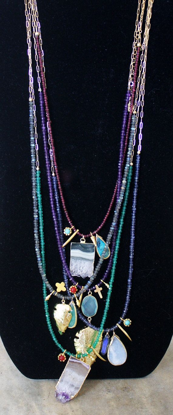Labradorite Charmed Necklace Gold Arrowhead and by shopkei, $86.00