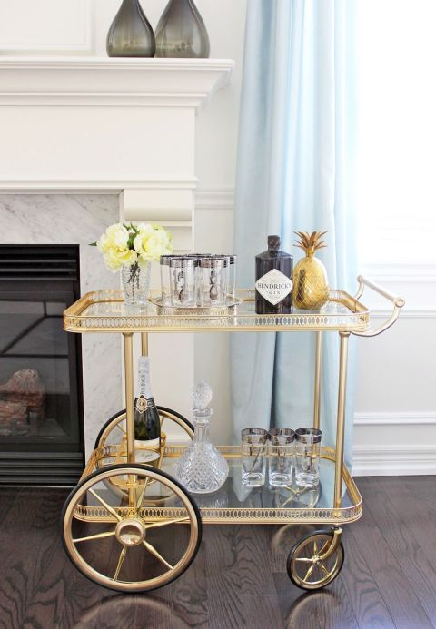 Michelle Shen - AM Dolce Vita   I LOVE bar carts and I am always playing around with restyling both of mine. This darling bar cart above h...
