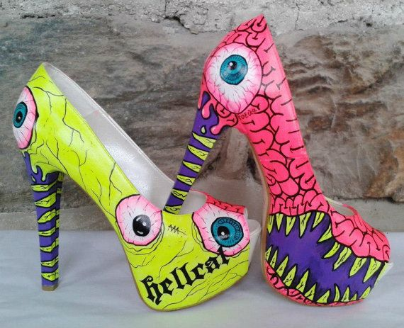 Thursday Handmade Love Week 65 Theme: Monsters Includes links to #free #crochet patterns  Monster Heels - Hand Painted High Heels - Hand Painted Shoes- Custom Shoes-Neon Color (Free Shipment) via Etsy