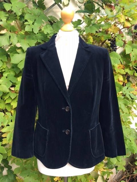 Vintage Velvet Jacket, Ladies UK Size 12, USA Size 8. Made in England by Marks and Spenser. Great quality, Black Cotton Velvet jacket. by GINGERMINTVINTAGE on Etsy