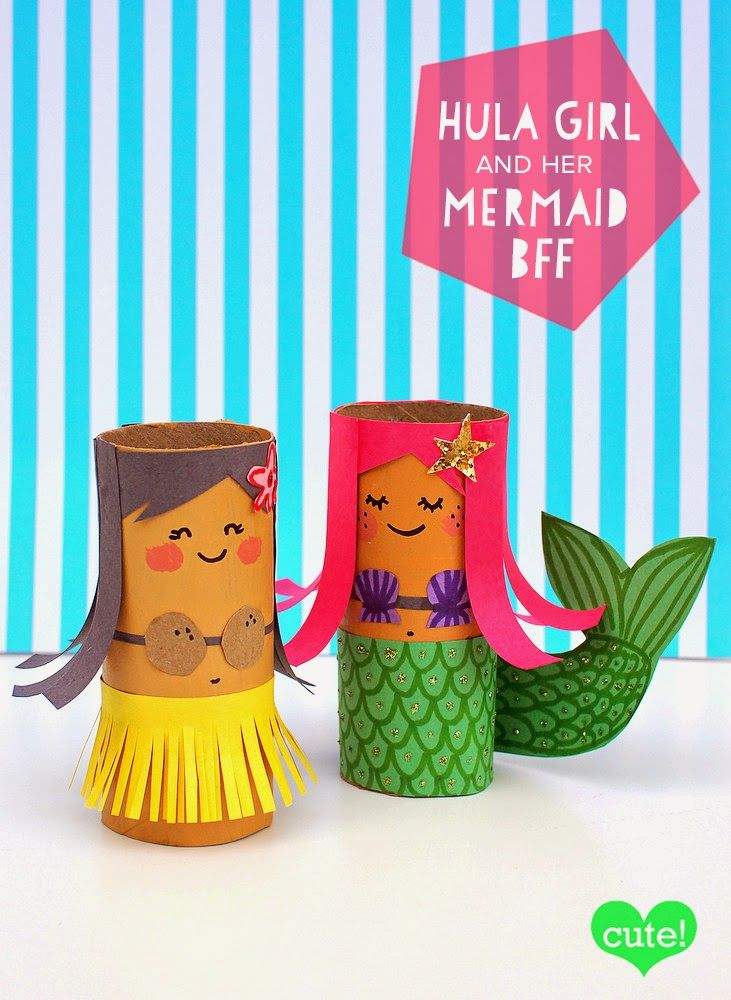 toilet roll mermaid and hula girl craft- super fun summer crafts for kids