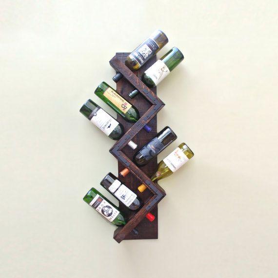 Rustic Wine Rack, Wall Mounted Wine Rack, Wood Wine Rack, Vertical Wine Rack With Dark Stain di AdliteCreations