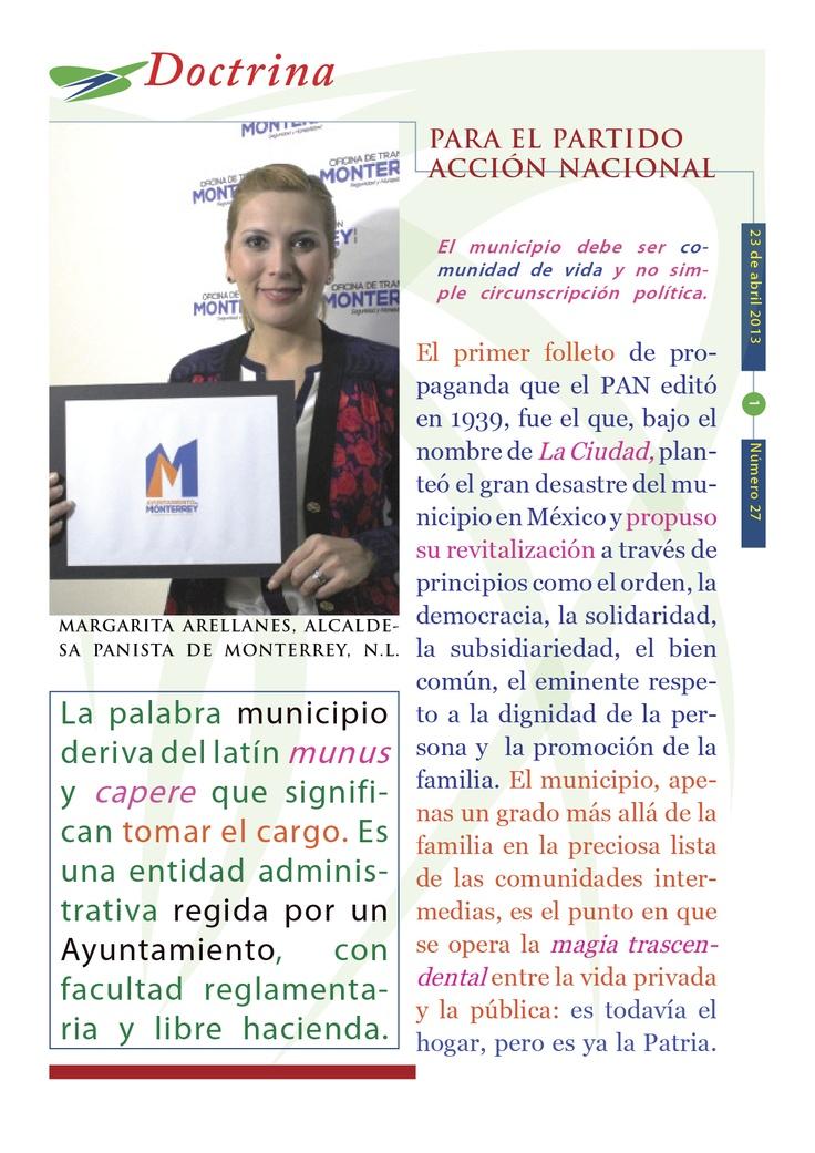 """Cápsula doctrinal número 27, editada por el CDE del PAN en Morelos, con el tema """"El Municipio""""."""