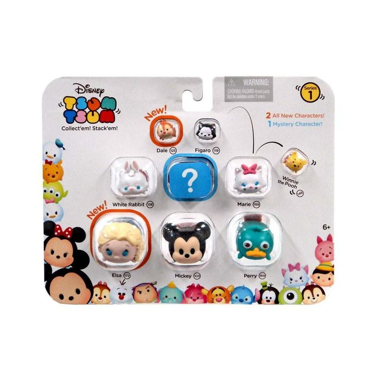 Disney Tsum Tsum Series 1 Dale, Figaro, Pooh, White Rabbit, Marie, Elsa, Mickey and Perry 1-Inch Minifigure 9-Pack