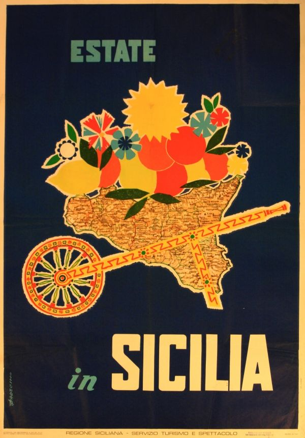 Vintage Travel Poster - Sicily - Italy.
