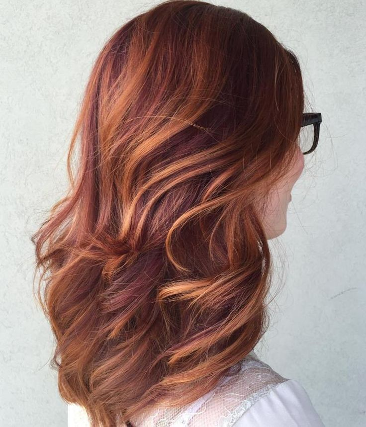 Plum Red Hair With Copper Highlights