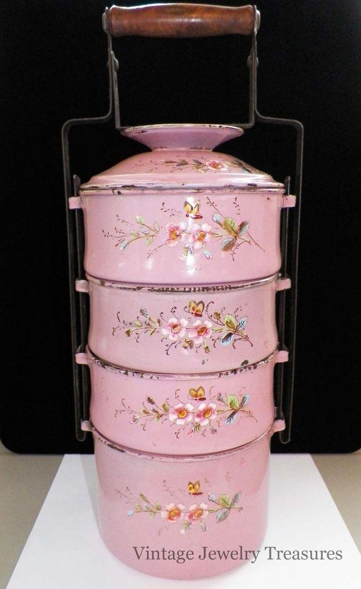 Ruby Lane - Vintage Antique 1920s Pink Pastel Enamel 4 Tier Tiffin Lunch Food Carrie