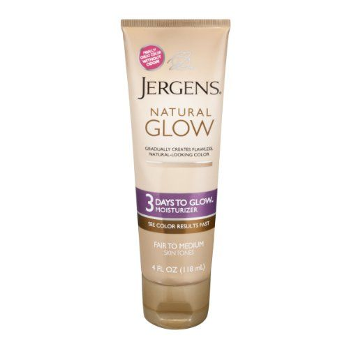 Jergens Natural Glow 3 Days To Glow Daily Moisturizer Fair to Medium Skin Tones, 4 Ounce. Jergens Natural Glow 3 Days to Glow Moisturizer creates a color that's gradual, flawless and captivating. Gradually creates flawless natural-looking color. Finally! Flawless, Naturally Looking Color, Just By Moisturizing, NOW Without Odor! Jump-start your color & achieve a skin tone one full shade darker with no sunless tanner odor in just 3 days with Jergens Natural Glow 3 Days to Glow...