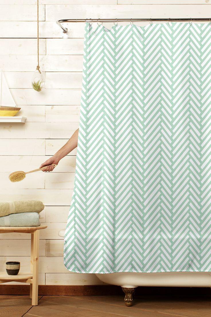Herringbone Mint Green Shower Curtains Mint Green Shower