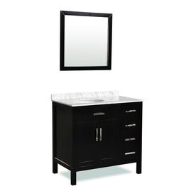 Ariel Bath Ashland Maple Black Undermount Single Sink Oak Bathroom Vanity with Natural Marble Top (Common: 37-in x 22-in; Actual: 37-in x 22-in)