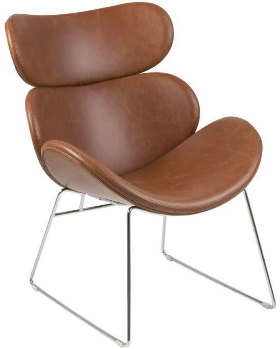 24Designs Design Fauteuil Carson - Chroom - Kunstleer - Cognac