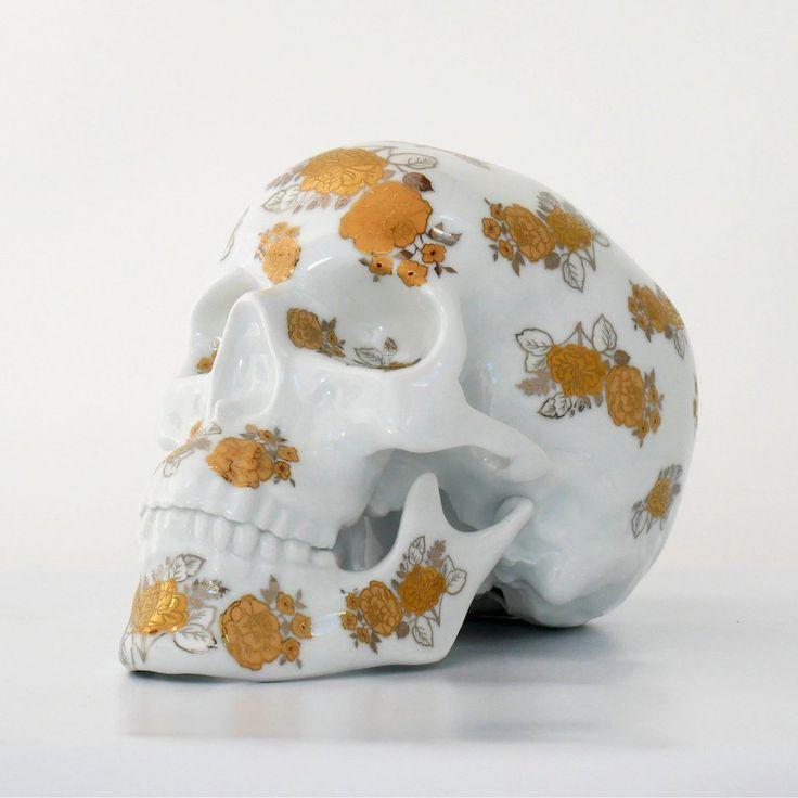 Fancy   Gold Flowers Porcelain Skull by NooN