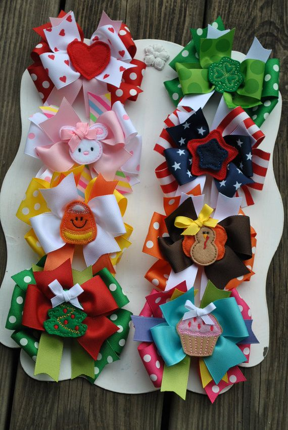 HAPPY HOLIDAYS Boutique Bow Set  8 Large by TheJellyBeanJunction, $49.99