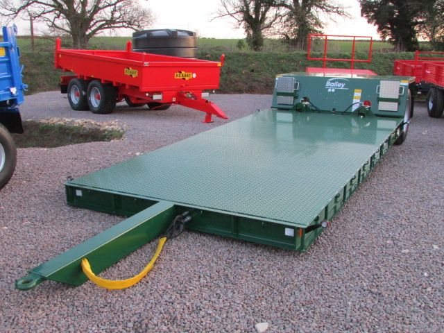 For sale Deck size 5 metre L x 2.45m W, super singles, hyd. Drop flat, ramps, in stock.  To find out more go to https://www.agri-linc.com/new-bailey-8-tonne-hyd-drop-flat-bed-low-loader-1.html