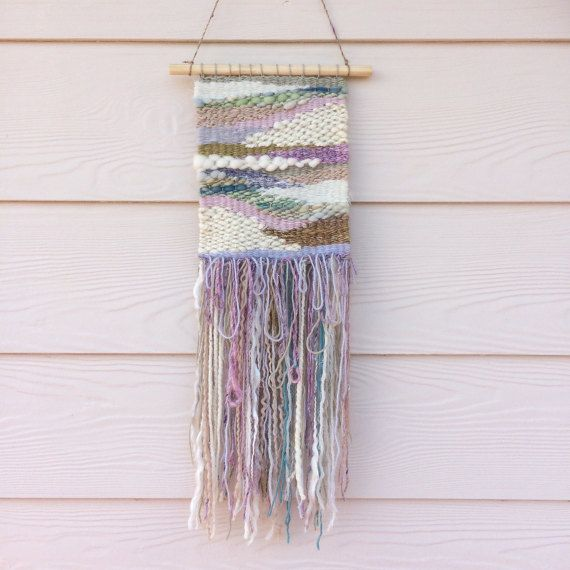 Woven wall hanging muted colours landscape wall art by jazzymakes
