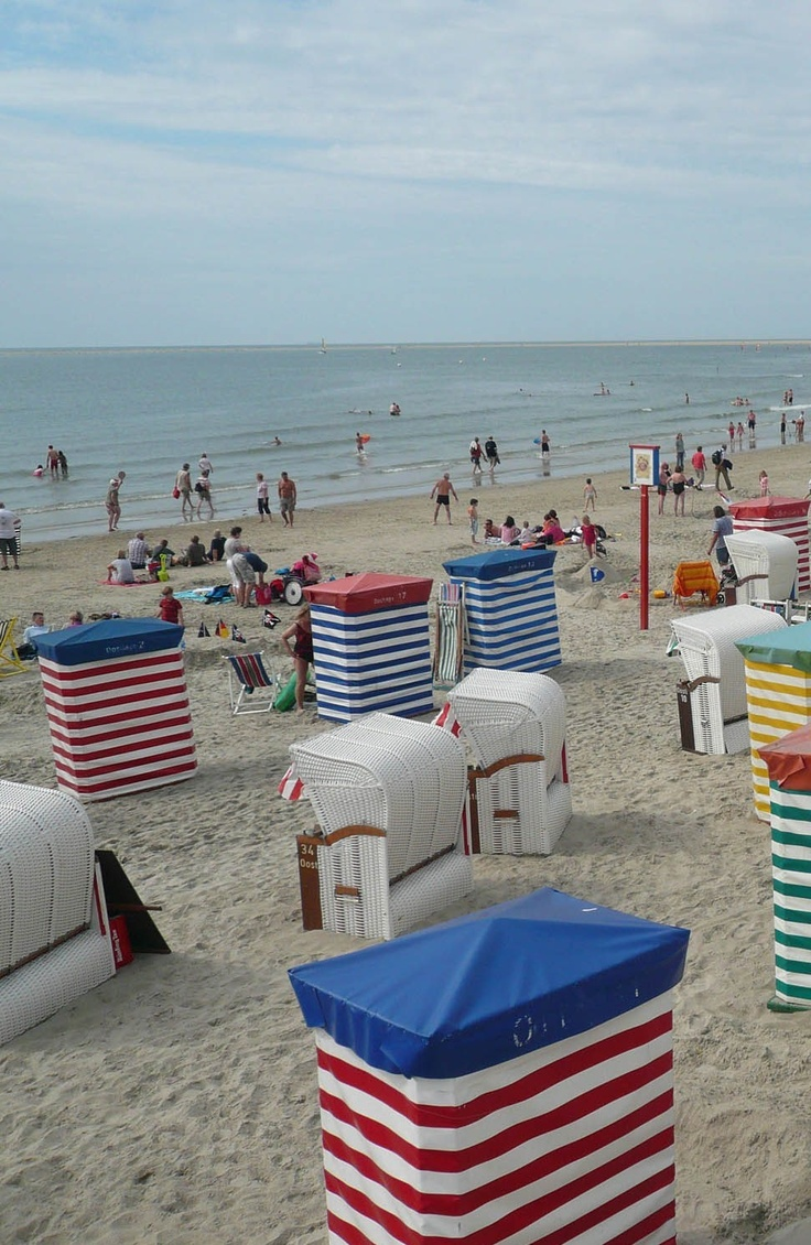 Borkum, North Sea - Germany ~ beach basket chairs for rent have pull out foot rests. | Islands and Coast | Pinterest | Germany, North sea and Germany travel