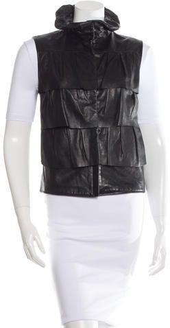 Diane von Furstenberg Cupcake Bomber Leather Vest
