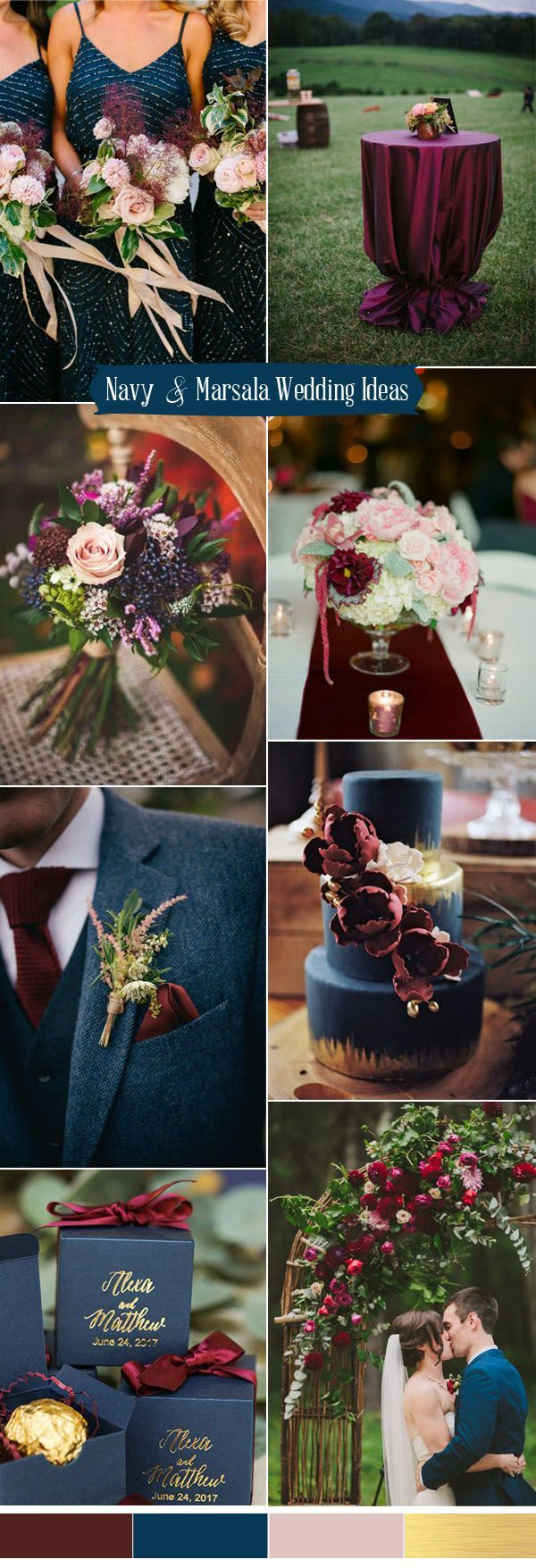 blue, marsala and pink wedding color ideas for 2017