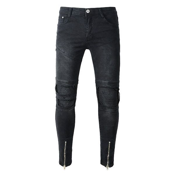 Biker Fold Holes Zipper Slim Ripped Jeans ($30) ❤ liked on Polyvore featuring men's fashion, men's clothing, men's jeans, men's regular fit jeans, mens slim fit ripped jeans, mens flap pocket jeans, mens ripped jeans and mens destroyed jeans