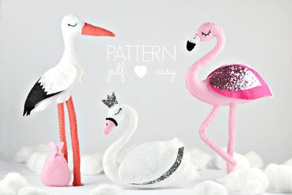 Felt Bird Sewing Patterns Flamingo Pattern Swan Pattern by MaisieMooNZ | Etsy