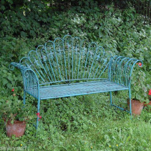 Garden Furniture Shabby Chic Metal Bench Vintage Look Bench Antique Blue  Chair