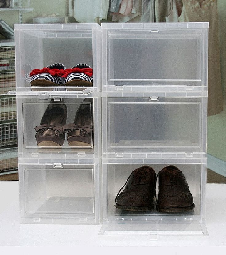 Drop Front Stackable Shoe Storage Box Regular Shoe