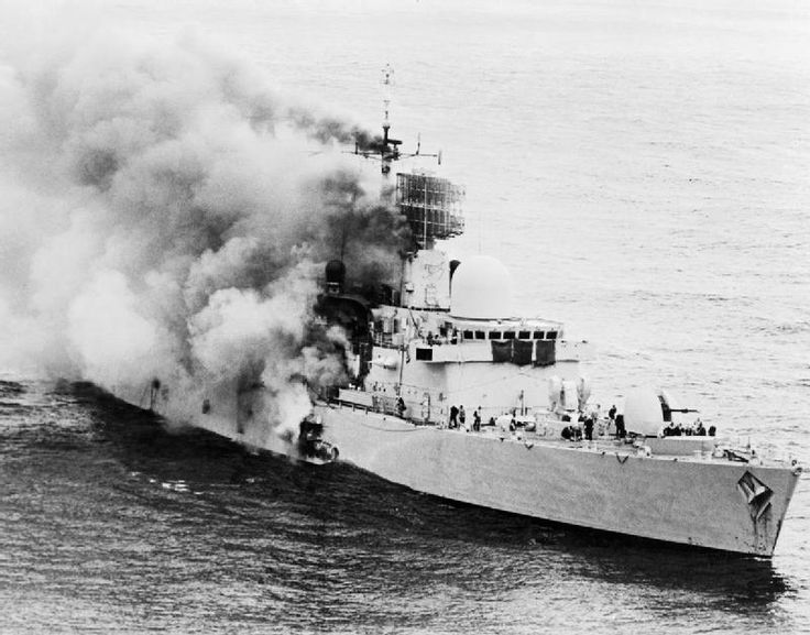 The destroyer HMS Sheffield on fire during the Falklands War