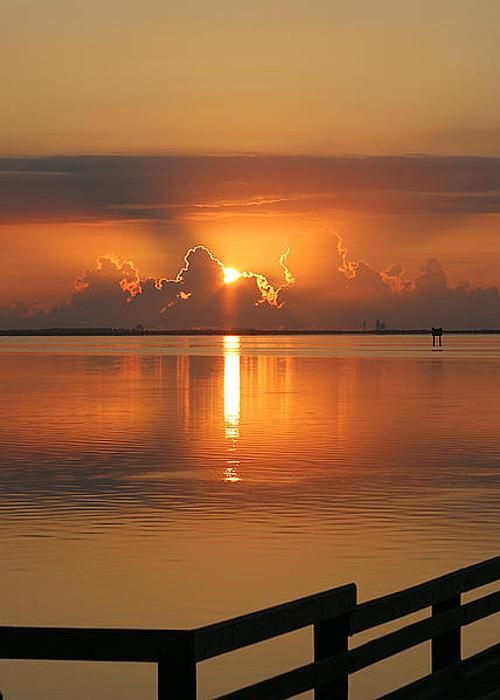 Beautiful, sunset, sunrise, water, clouds, sunbeams, reflections, beauty of Nasture, fence, peaceful, gorgeous view