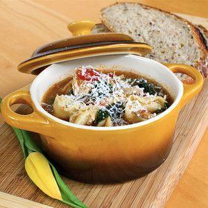 Garlicky Tortellini Turkey Soup