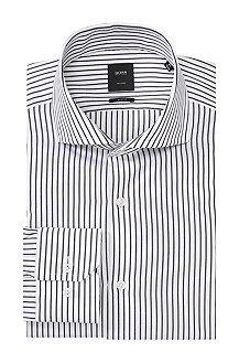 Slim-fit business shirt 'T-Christo' in cotton, Dark Blue