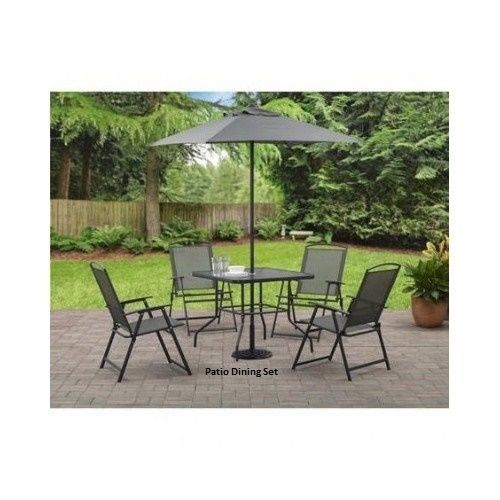 Patio Dining Set With Umbrella Outdoor Furniture 6 Pc Garden Table Chair Pool #Mainstays