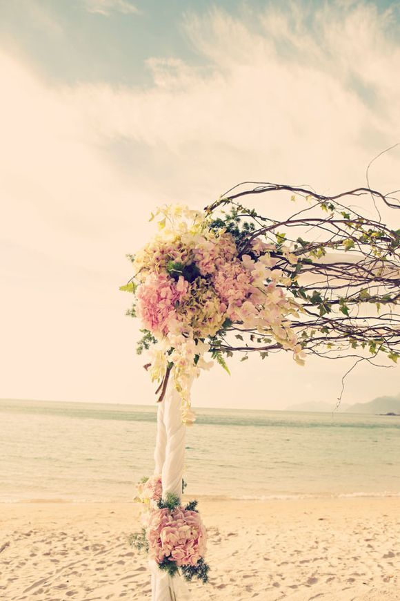 Chic Beach Wedding Ceremony Ideas - Altar Design - Beautiful white drapery,