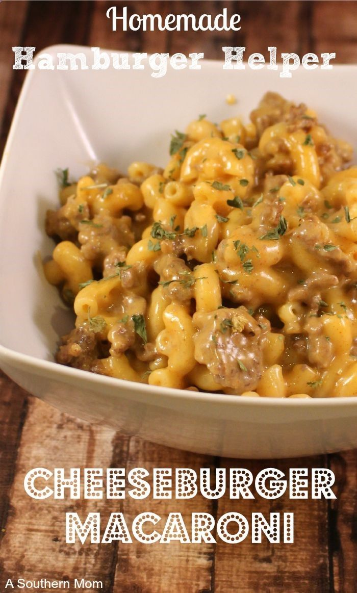 Made, omitted sugar, makes a lot-Homemade Hamburger Helper Recipe: Cheeseburger Macaroni - A Southern Mom - cornbreadandwalmart