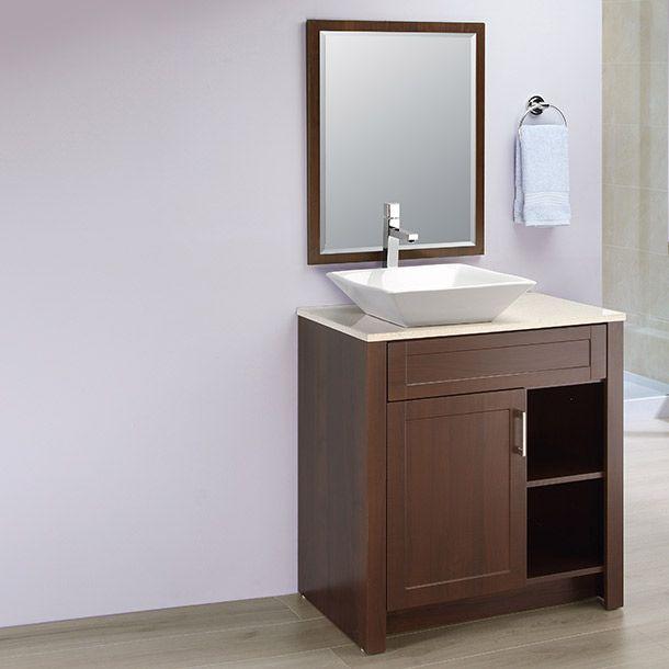 Medidas 76.3 x 46.85 x 81.6 cm de alto. MDF color chocolate. Incluye Cubierta y espejo.