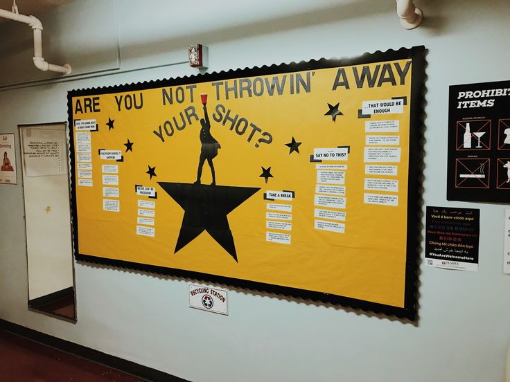 Hamilton inspired bulletin board for RAs about alcohol awareness, safety, and tips. (Lin Manuel Miranda, resident assistant, ra, ideas, Hamilton the musical, the room where it happens, never gon' be president, say no to this, that would be enough, take a break)