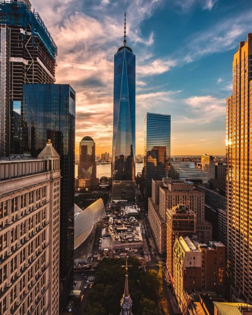 Epic golden hour at Financial District NYC