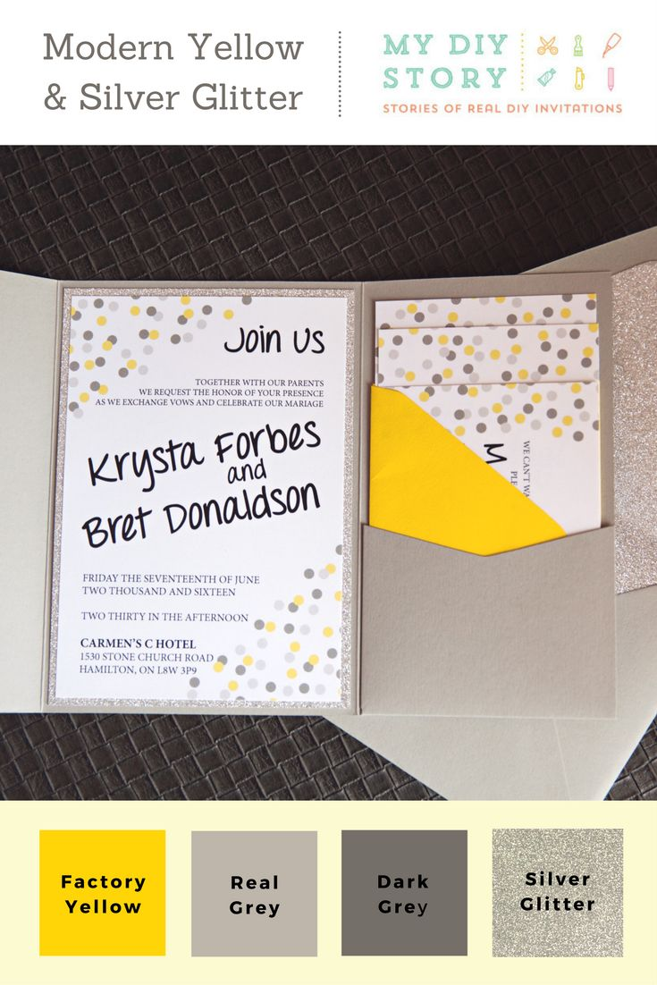 Real DIY Wedding Invitation: Modern Yellow U0026 Silver Glitter