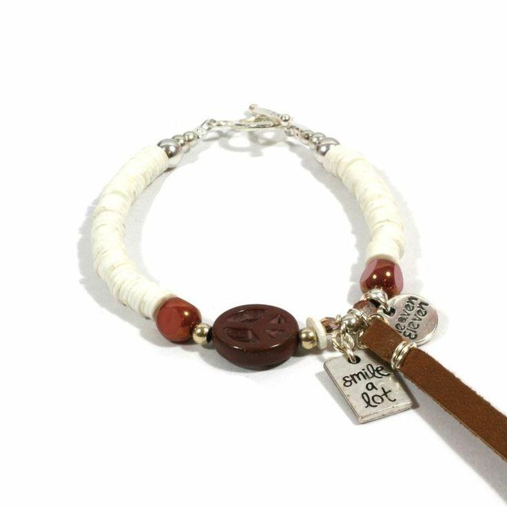 Bracelet Fimo Beads White.  Peace Silver Charm
