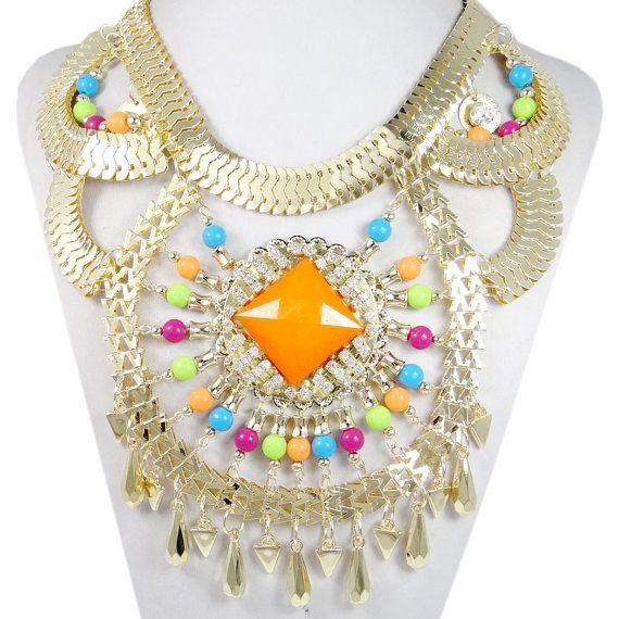 Huge Orange Bead Swarovski Crystal Necklace, Colorful Chunky Choker Bib Statement Necklace, Golden Chain Jewelry-154420807