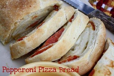 Pepperoni Pizza Bread ~ Utilizes frozen rhodes bread dough which makes it that much easier. I usually make it with pepperoni and Canadian bacon.  I also add pizza seasoning inside it.   My kids love this but the adults do too. :)