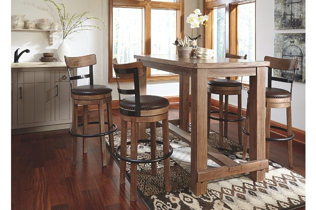 Pinnadel rustic wooden bar table  with tall swivel seat bar stools