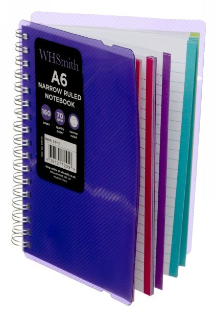 A practical A6 wiro bound notebook with an bright purple polypro cover, perfect for jotting down casual notes.<p /> Features a purple elastic closure and 80 sheets of narrow ruled 70 gsm paper. Each page also features a great coloured edge border to liven up your notes.