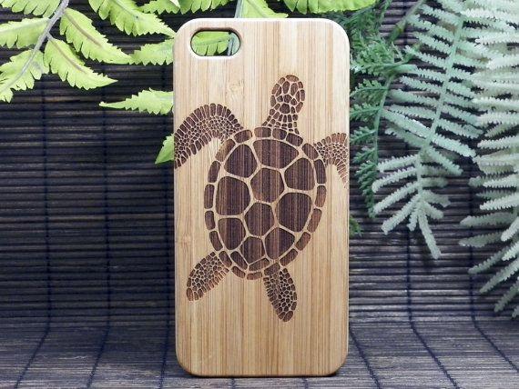 Sea Turtle iPhone 6 Case. Tribal Tattoo Ocean Sea Hawaiian Honu. Eco-Friendly Bamboo Wood Cell Phone Cover Skin.