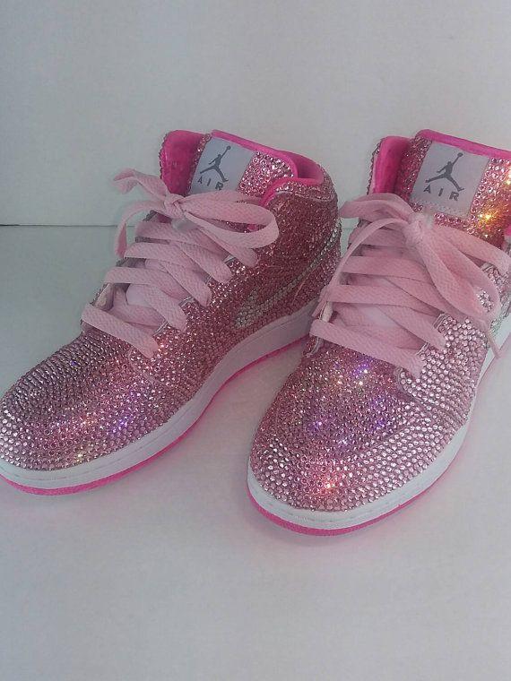 Custom Nike Shoes, Nike Swarovski, Rhinestone Nike, Hot Pink Nike, Trisha Paytas…