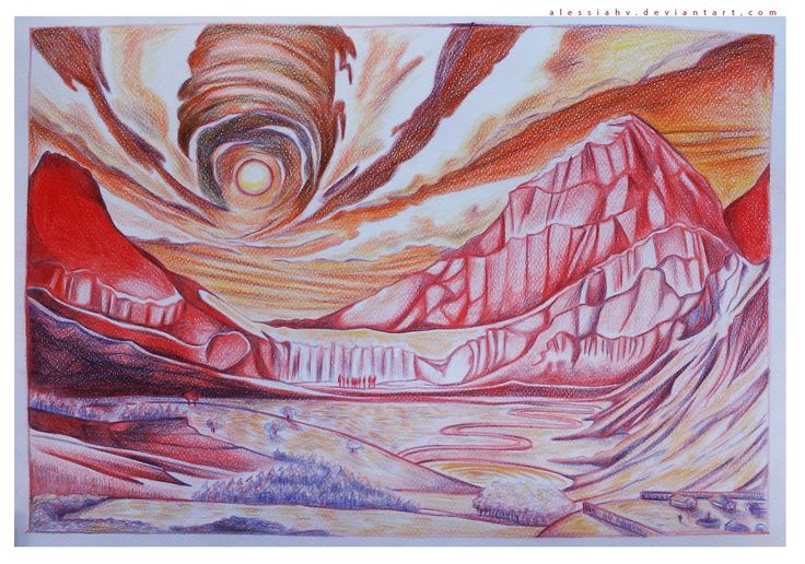 Alessia H.V., 'The fresh of Dawn and the warm of Sun', crayon on paper, 2014.