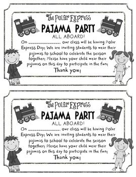 FREEBIE POLAR EXPRESS PAJAMA PARTY INVITE - TeachersPayTeachers.com